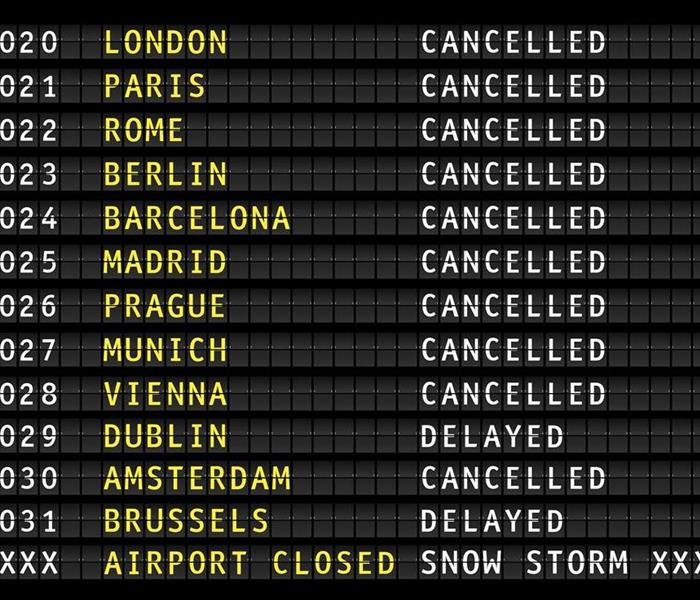 Flight information on an airport showing cancelled flights because of a thunderstorm, vector