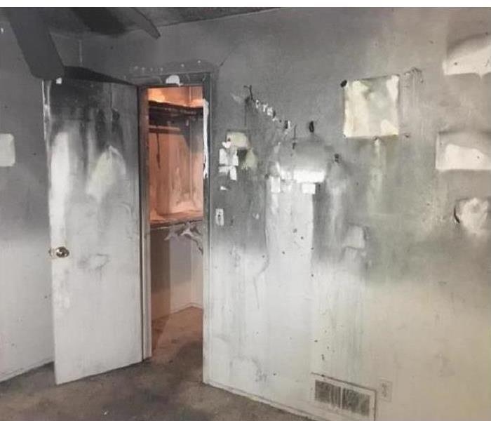 Walls covered with soot